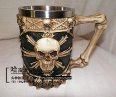 哈雷骑士 Manacing哥特式骷髅钢啤酒杯 马克杯