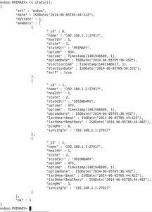 一台虚拟机登陆mongo,输入如下... 可以使用rs.status()查看集群状...