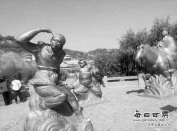 彩画堂雅典娜丢飞机票-10月23日,记者看见位于兰州市南滨河路白马浪附近的西游记雕塑中,...