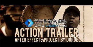 ...模板 充满活力动作电影预告片头开场动画模版 Action Trailer免费下载
