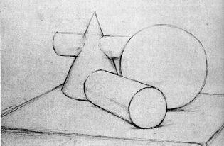 圆锥圆柱球体组合素描写生过程及作品