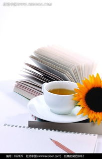 一本翻开的书与茶杯向日葵图片免费下载 红动网