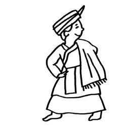 回族简笔画,人物简笔画,少数民族人物简笔画,回族是以中东阿拉...