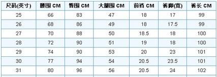 男士女士裤子尺寸对照表,美国裤子尺码换算