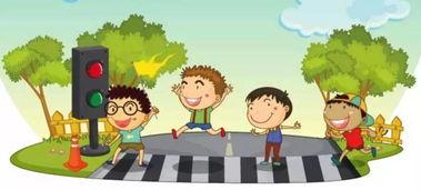 横穿马路卡通图片-萌娃教你记住交通安全口诀