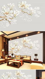 白玉兰花背景墙图片 白玉兰花背景墙素材下载 我图网