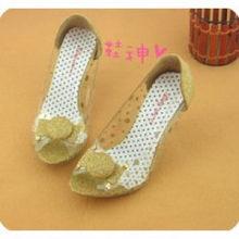 金色中跟磨沙料 女生最爱玻璃款单鞋E55