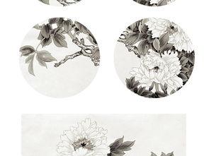 圆素描-...代简约时尚中式圆形无框画白描牡丹装饰画