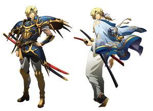 左:立绘,右:魔剑精灵皮肤)   利昂(阵营:雷卡尔特帝国·光之后...