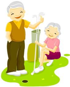 垂头丧气火柴人创意设计-打高尔夫球的老年人图片
