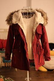 河南大红缎子棉袄-...链毛领连帽棉服棉衣大衣工装外套