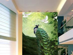 高中孔雀神秘森林玄关背景墙