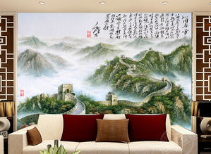 电视客厅背景墙瓷砖背景墙长城沁园春图片设计素材 高清psd模板下载 ...
