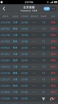 ...国际机场大雪,航班动态APP飞常准上的航班信息截图.-首都机场暂...