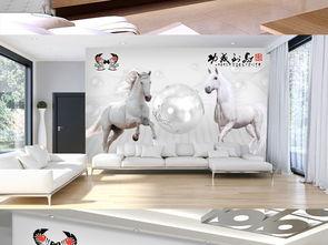 空间立体马到成功壁纸背景墙