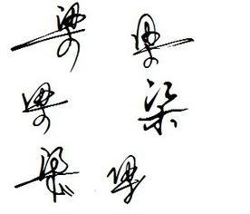 梁字艺术签名怎么写