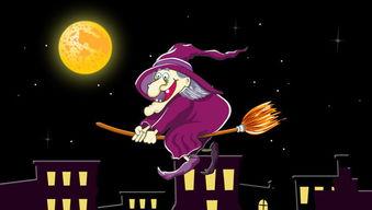 ...圣节月亮的夜晚巫婆骑扫帚flash动画下载